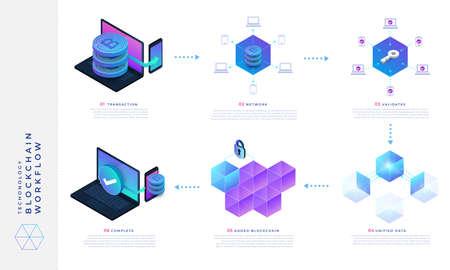 Concepto de diseño plano blockchain y tecnología de criptomonedas. Ibfográfico cómo funciona. Ilustración vectorial isométrica.