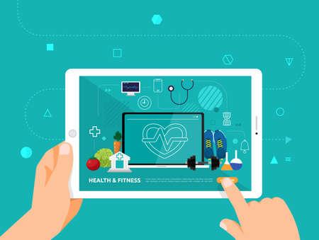 Le illustrazioni progettano il concetto di e-learning con il clic della mano sul corso online di tablet salute e fitness. Il vettore illustra.