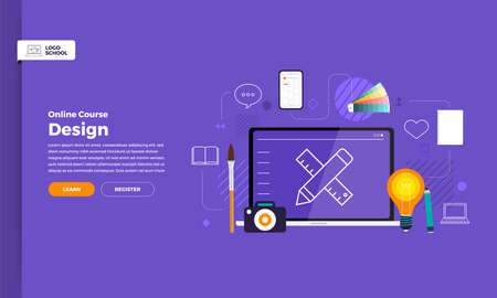 Mockup design landing page website education online course graphic design. Vector illustrations. Flat design element. Vektoros illusztráció