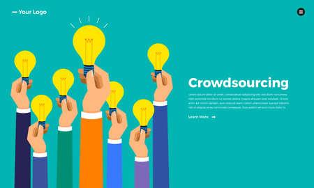 Flaches Design-Konzept Crowdsourcing. Vektor veranschaulichen.