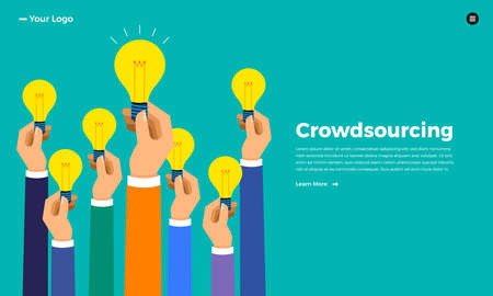 Flat design concept crowdsourcing. Vector illustrate. Stock fotó - 114917926