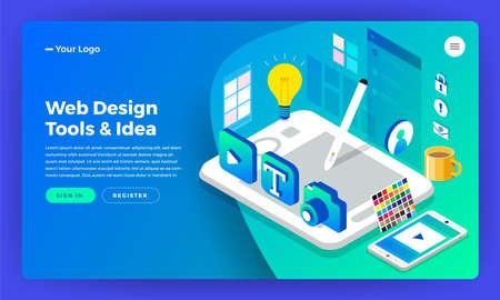 Mockup website bestemmingspagina isometrische platte ontwerpconcept webdesigner. Vector illustratie. Ontwerp van de lay-out van de website.