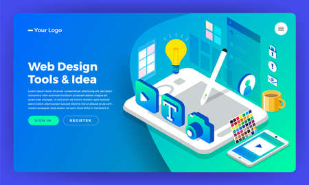 Mockup website landing page isometric flat design concept web designer. Vector illustration. Website layout design. 矢量图像