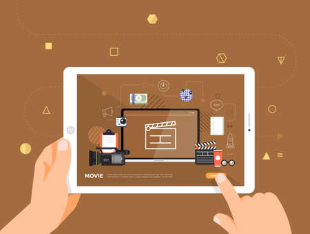 Illustrations design concpt e-learning with hand click on tablet online course movie. Vector illustrate.