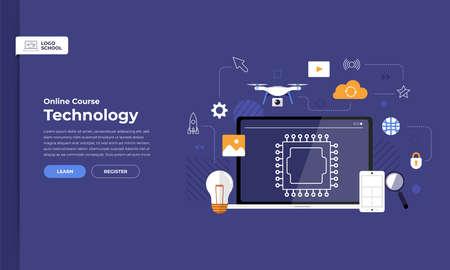 Tecnologia del corso online di formazione del sito Web della pagina di destinazione del design di mockup. Illustrazioni vettoriali. Elemento di design piatto.