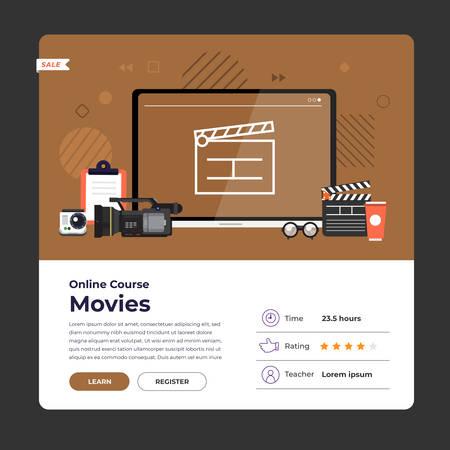 Mockup design landing page website education online course movie and film production. Vector illustrations. Flat design element.