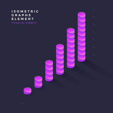 Graph object infographic vector elements presentation graphics, statistics of data and diagrams. 3d isometric design.