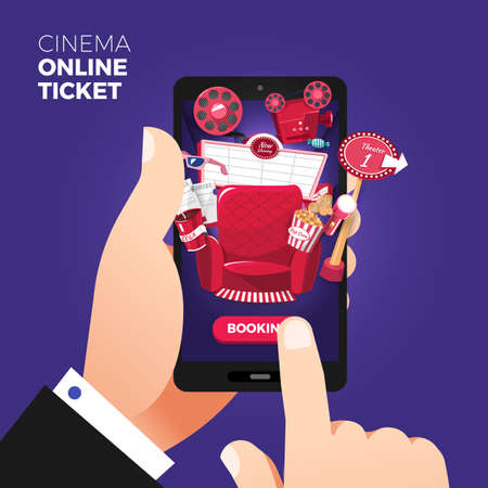 Flat design vector illustration concepts of online cinema ticket order. Hand holding mobile smart phone with online buy app.Vector illustrations. Stock Illustratie