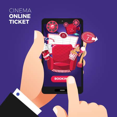 Płaska konstrukcja ilustracji wektorowych koncepcje zamówienia biletów do kina online. Ręka trzyma mobilny inteligentny telefon z app zakupu online. Ilustracje wektorowe. Ilustracje wektorowe