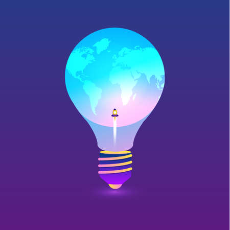Flat design concept Innovative ideas are presented by combining light bulbs with the globe to convey creativity, change the world and rocket. Vector illustrations.