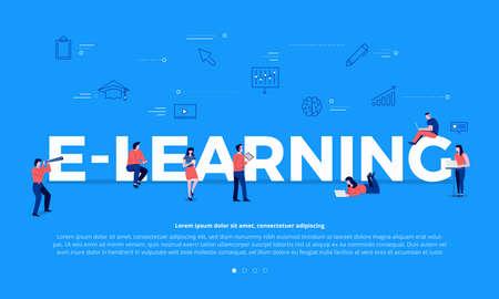 Flat design concept people education online knowledge witgh e-learning program. Vector i9llustrations. Ilustracje wektorowe