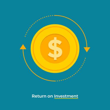 Retorno de la inversión del concepto de diseño plano. Tema de crecimiento empresarial financiero y monetario. Ilustraciones vectoriales. Ilustración de vector