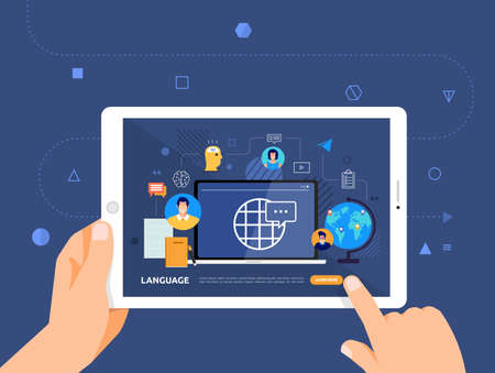 Illustrations design concpt e-learning with hand click on tablet online course language. Vector illustrate. Vector Illustration