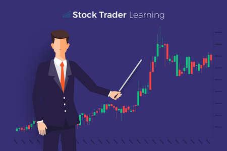 Bourse et commerçant de concept de design plat. Affaires du marché financier avec analyse graphique. Illustrations vectorielles.