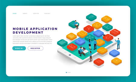 Mock-up design website flat design concept mobile app development with developer coding and working together. Isometric Vector illustration. Stock fotó - 114923100