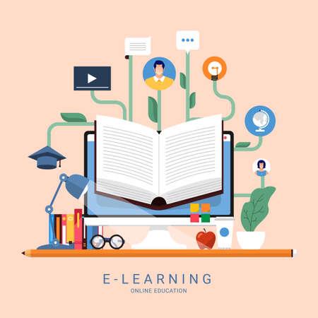 Flat design concept people education online knowledge witgh e-learning program. Vector illustrations. Ilustracje wektorowe