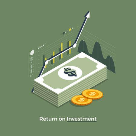 Flacher Designkonzept Return on Investment. Thema des Wachstums des Finanz- und Geldgeschäfts. Isometrische Vektorabbildungen.