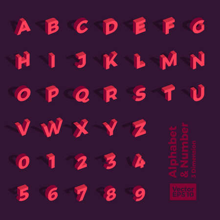 Vector 3d isometric alphabet and number. For design layout graphic or website banner content.