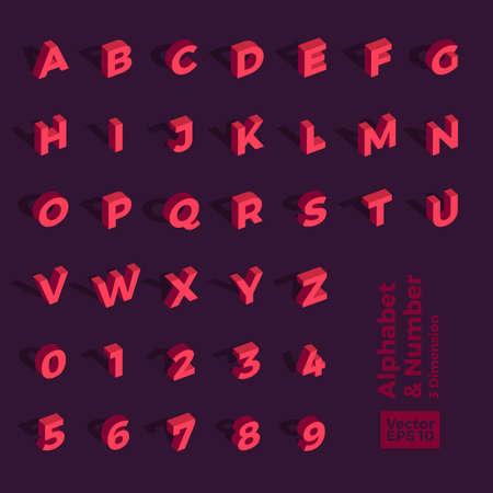 Vektor isometrische 3D-Alphabet und Zahl. Für Design-Layout-Grafiken oder Website-Banner-Inhalte.