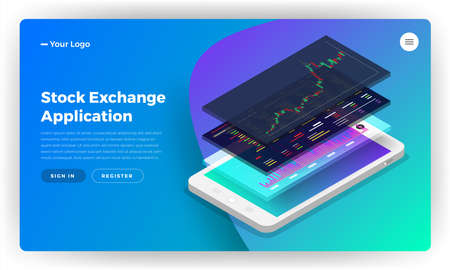 Mockup landing page website design concept stock exchange mobile application. Isometric vector illustrations. Banque d'images - 104928297