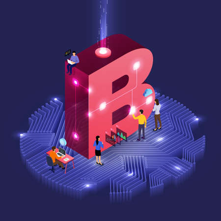 Business concept teamwork of peoples working development isometric alphabet type. Design for bold company name B. Vector illustrations. 일러스트