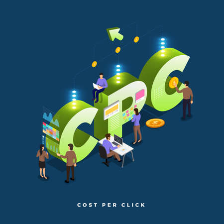 Business concept teamwork of peoples working development isometric CPC ( cost per click ) . Vector illustrations.