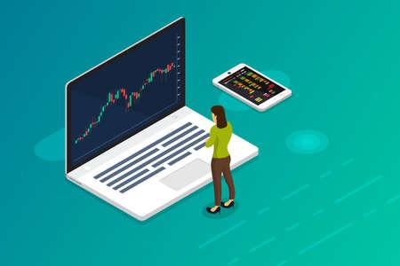 Bourse et commerçant de concept de design plat. Affaires du marché financier avec analyse graphique. Illustrations vectorielles isométriques. Vecteurs