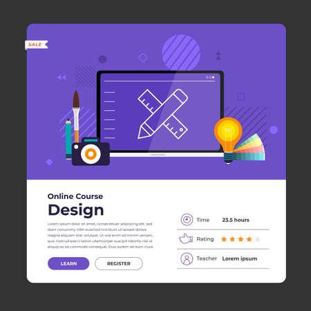 Mockup design landing page website education online course graphic design. Vector illustrations. Flat design element. Vectores