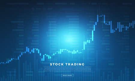Scambio di azioni e commerciante di concetto di design piatto. Affari del mercato finanziario con analisi del grafico del grafico. Illustrazioni vettoriali.