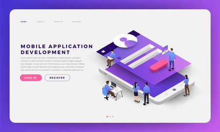Desarrollo de aplicaciones móviles del concepto de diseño plano del sitio web de diseño de maquetas con la codificación del desarrollador y el trabajo conjunto. Ilustración vectorial isométrica. Ilustración de vector