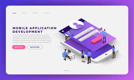 Mock-up design website flat design concept mobile app development with developer coding and working together. Isometric Vector illustration.
