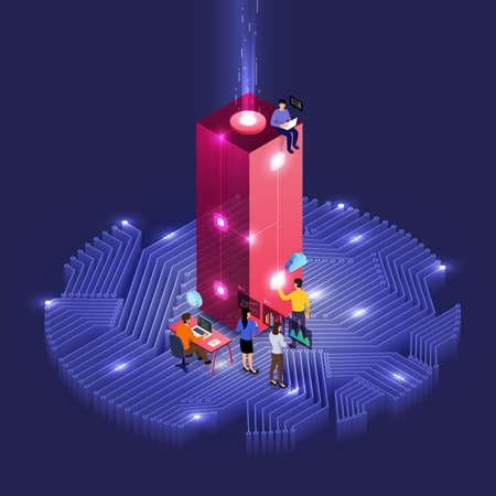 개발 아이소메트릭 알파벳 유형 작업을 하는 사람들의 비즈니스 개념 팀워크. 대담한 회사 이름 I. 벡터 삽화를 위한 디자인.