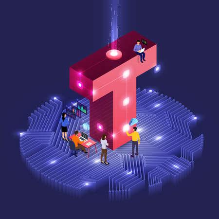 개발 아이소메트릭 알파벳 유형 작업을 하는 사람들의 비즈니스 개념 팀워크. 대담한 회사 이름 T. 벡터 삽화를 위한 디자인.