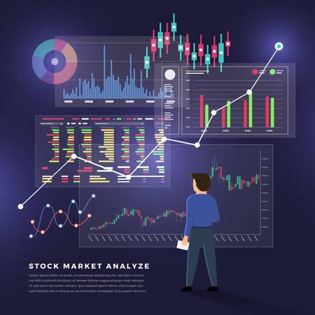 Bolsa de valores de concepto de diseño plano y comerciante. Negocio de mercado financiero con análisis de gráfico gráfico. Ilustraciones vectoriales.