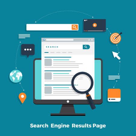 Flat design concept search engine optimization and result ranking page. Vector illustrations.