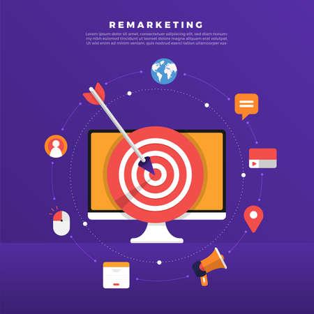 Concepto de diseño plano, retargeting o remarketing de marketing digital. Red de anuncios de banner en línea. Ilustraciones vectoriales.