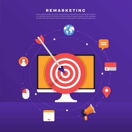 Retargeting oder Remarketing für digitales Marketing mit flachem Designkonzept. Online-Bannerwerbung. Vektorabbildungen.