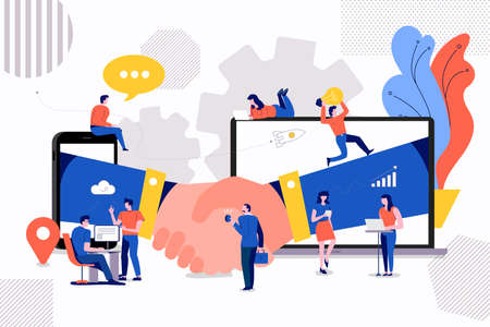 Illustrations concept petites personnes créant de la valeur pour les entreprises partenaires. via un accord de poignée de main entre l'entreprise. Illustration vectorielle.