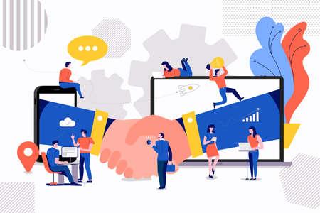 Illustrazioni concetto piccole persone che creano valore del business partner. tramite accordo di stretta di mano tra società. Il vettore illustra.