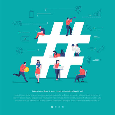 Flat design concept group of peoples work together building social network symbol hashtag. Vector illustrations.