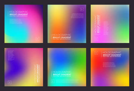 Vector set of template design holographic fluid bright gradient. Vector illustrations.