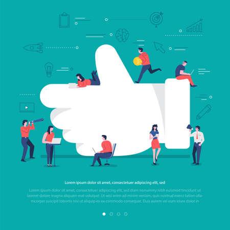 Flat design concept group of peoples work together building social network symbol like button. Vector illustrations.