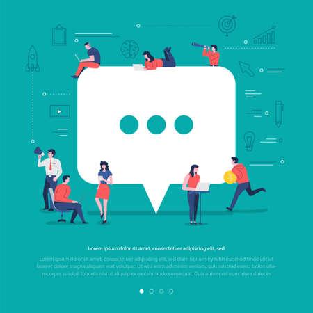 Flat design concept group of peoples work together building social network symbol comment. Vector illustrations. Illustration