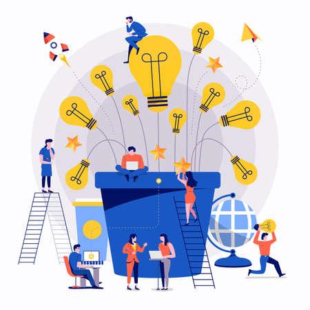 Illustrationen flaches Designkonzept Teamarbeit kleiner Geschäftsmann, der zusammenarbeitet, um erfolgreiche kreative Ideenwerbung aufzubauen. Vektor veranschaulichen.