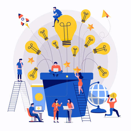 Illustrations flat design concept teamwork small people businessman working together for building success creative idea advertising. Vector illustrate.