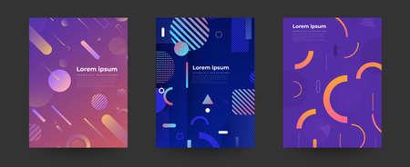 Couleurs vives de fond géométrique et compositions de formes dynamiques. Conception de la mise en page de la couverture. Illustrations vectorielles.