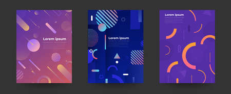 Geometric background bright colors and dynamic shape compositions. Cover layout desiign. Vector illustrations.
