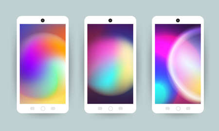 Vector set design concept mobile screen wallpaper holographic fluid bright gradient background. Vector illustrations.