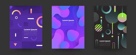 Couleurs vives de fond géométrique et compositions de formes dynamiques. Illustrations vectorielles.