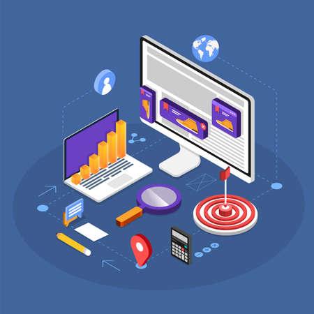 Isometric flat design concept digital marketing retargeting or remarketing. online banner ad network. Vector illustrations. Reklamní fotografie - 112266441
